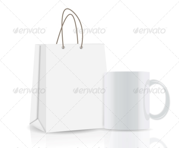 Empty Shopping Bag and Cup for Advertising - Decorative Symbols Decorative