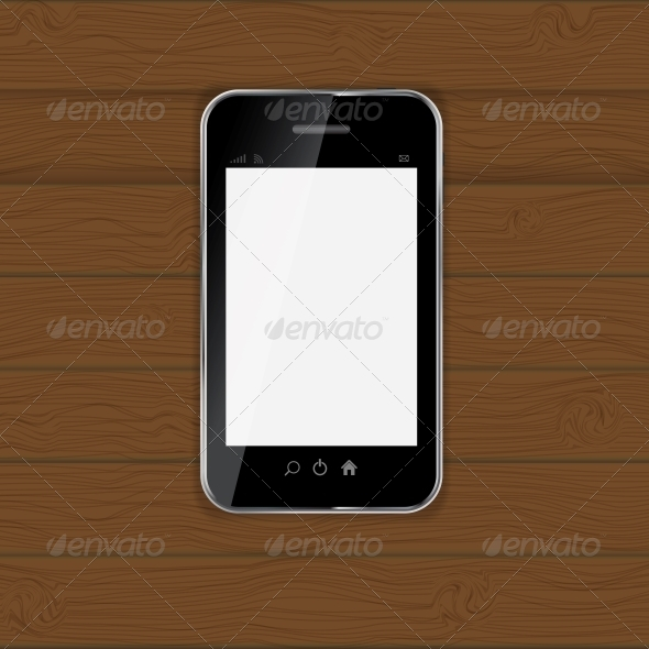 Realistic Mobile Phone Vector Illustration - Computers Technology