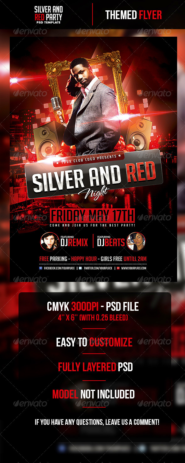 Silver and Red Night Flyer Template - Clubs & Parties Events