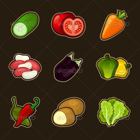 Glossy Vegetable Set - Food Objects
