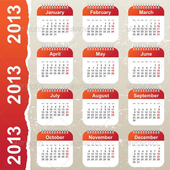 Calendar 2013 - Miscellaneous Vectors