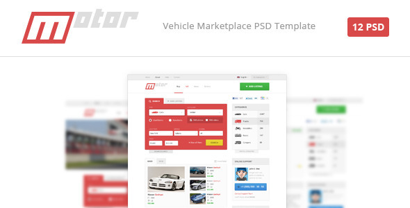 Motor – Vehicle Marketplace PSD Template