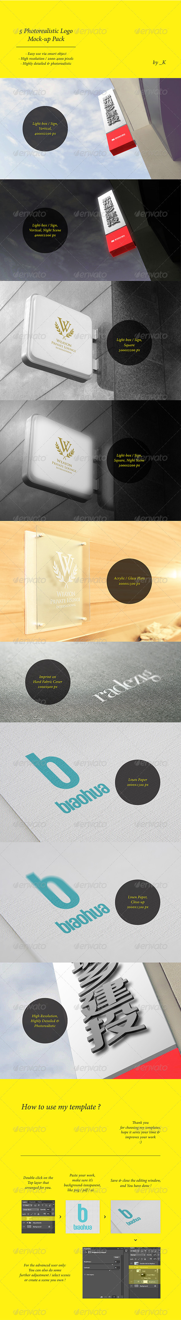 5 Unique Photorealistic Logo Display Mock-up Pack - Logo Product Mock-Ups