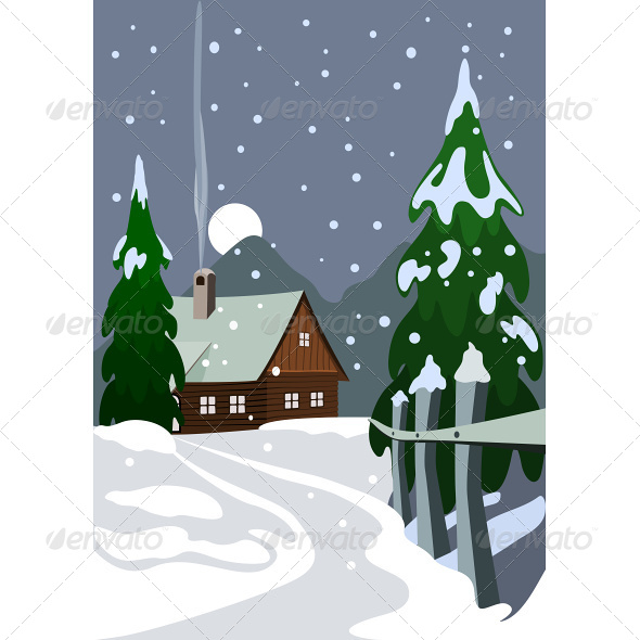 Illustration of House in Snow Forest - Seasons Nature
