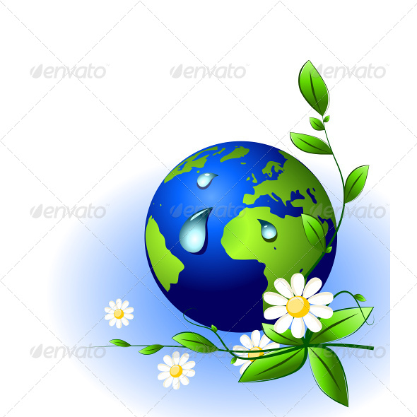 Ecology Concept. Earth globe with Water Drops. - Nature Conceptual