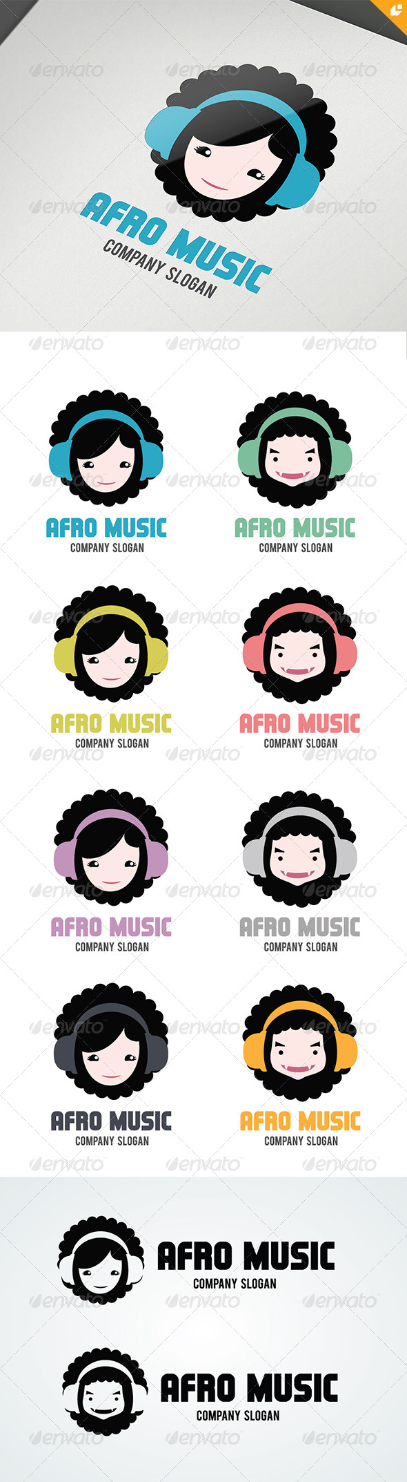 Afro Music Logo - Vector Abstract