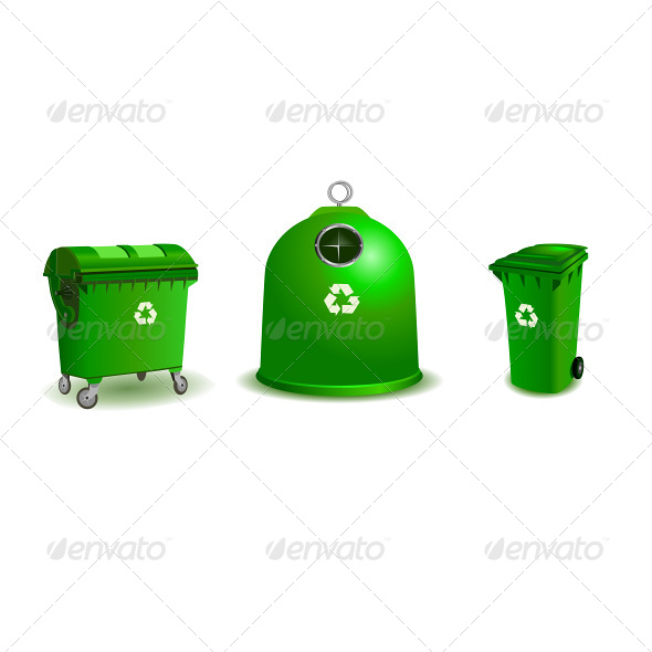 Recycle Bins - Two Bigger and Small One - Concepts Business