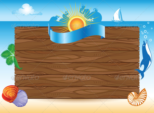 Sea Travel Background with Illustrations - Travel Conceptual