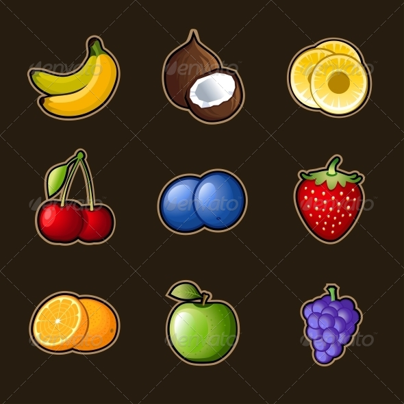 Set Fruit Icons - Food Objects