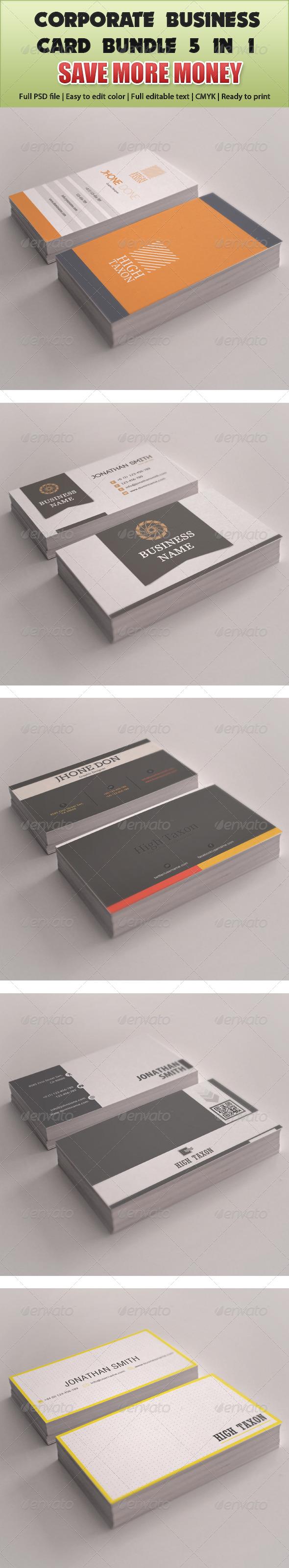 Corporate Business Card Mega Bundle 5 in 1 - Corporate Business Cards