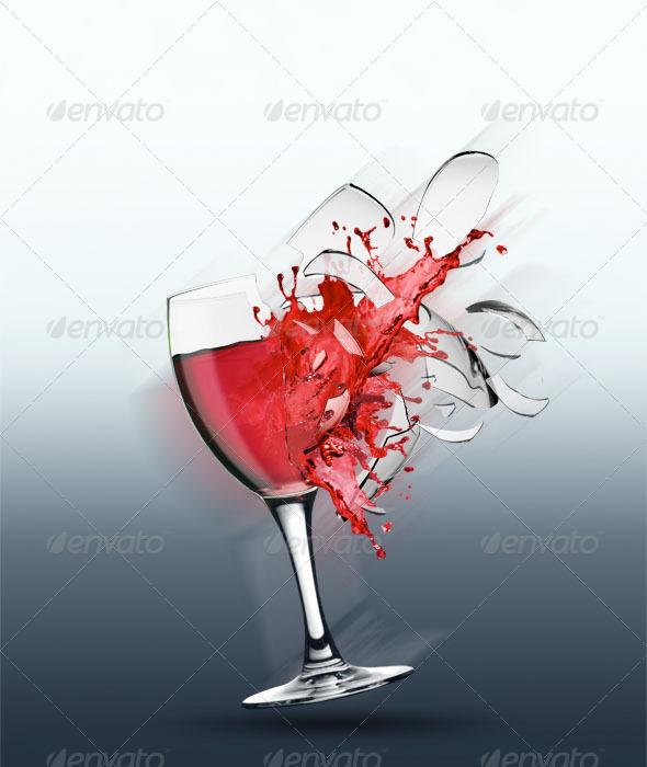 Broken Wine Glass - Objects Illustrations