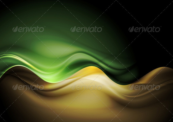 Dark Orange and Green Waves Template - Backgrounds Decorative