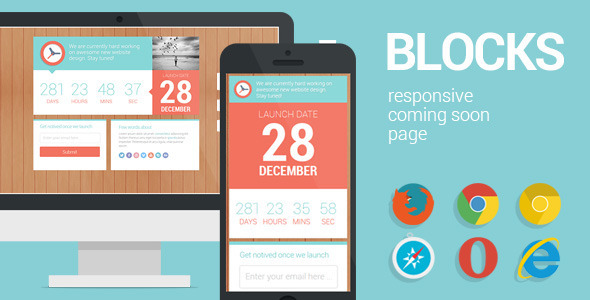 Blocks - Responsive Coming Soon page - Under Construction Specialty Pages