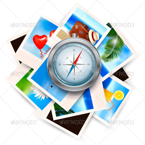 Background with Travel Photos and Compass - Travel Conceptual