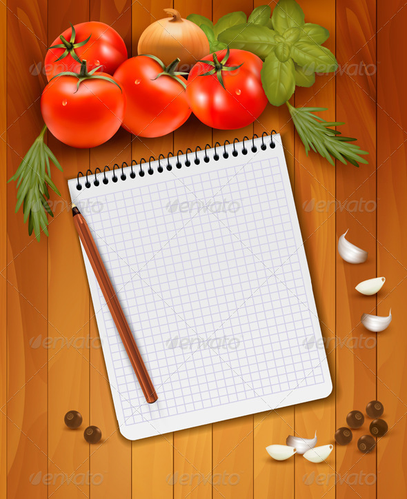 Fresh Vegetables and Spices on a Wooden Background - Food Objects