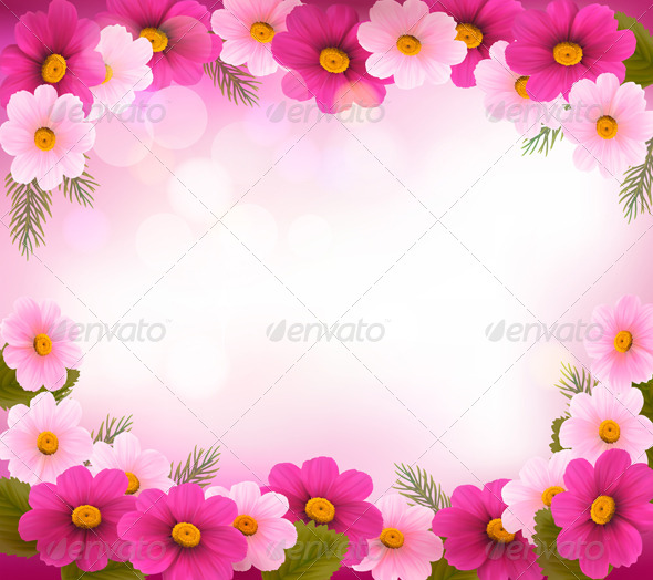 Holiday Frame with Colorful Flowers - Flowers & Plants Nature