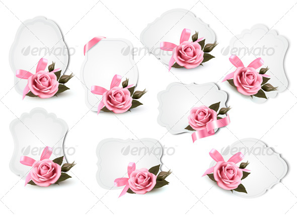 Collection of Holiday Greeting Cards with Pink Roses - Borders Decorative