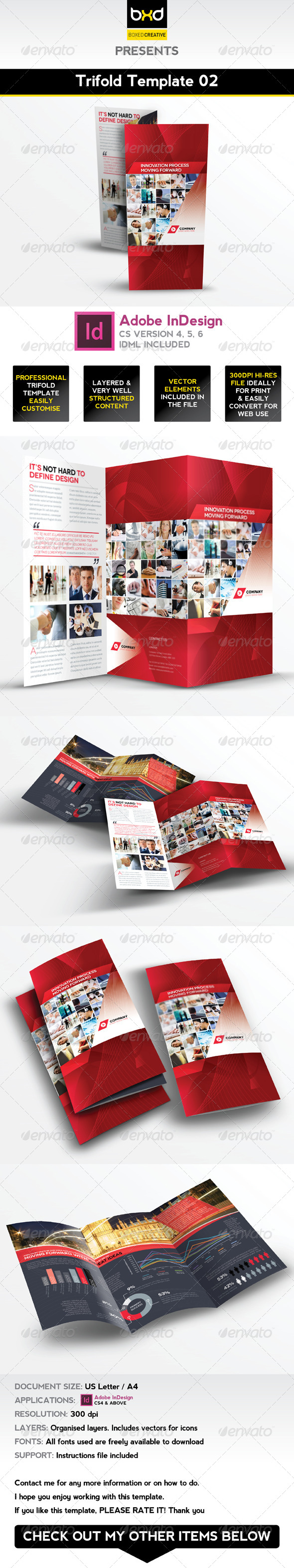 Trifold Brochure Template 02 - InDesign Layout by BoxedCreative ...