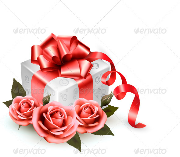 Holiday Background with Pink Roses and Gift Box - Seasons/Holidays Conceptual