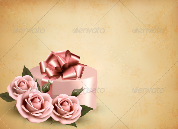 Holiday Retro Background with Pink Roses and Gift  - Retro Technology
