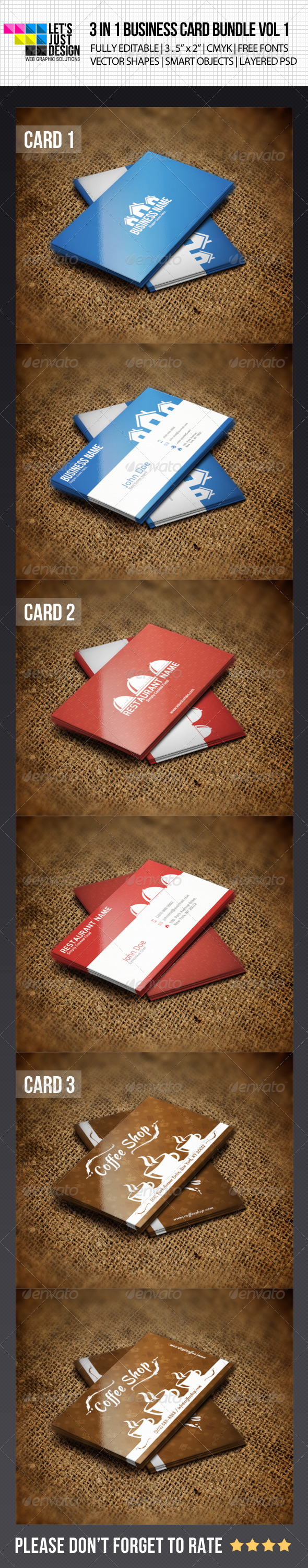 3 IN 1 Business Card Bundle Vol 1 - Industry Specific Business Cards