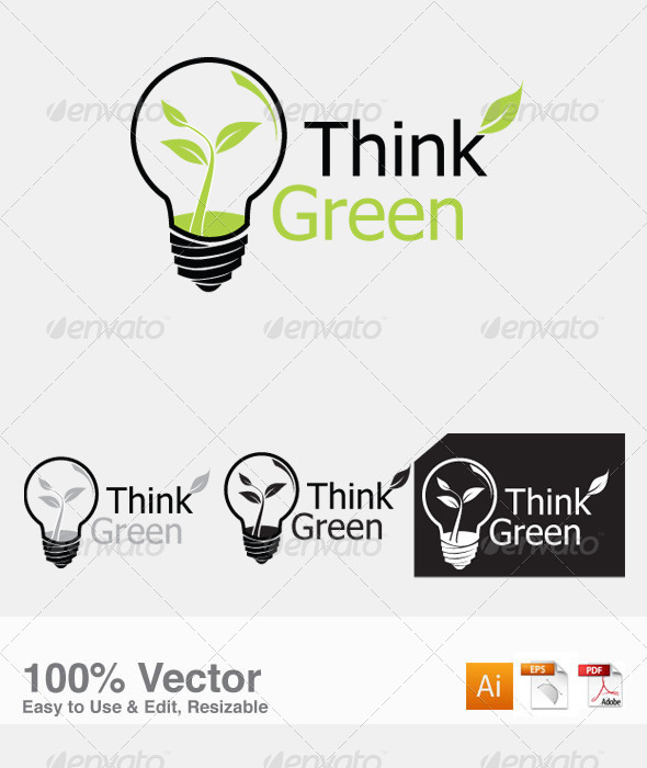 Think Green Logo Template - Vector Abstract