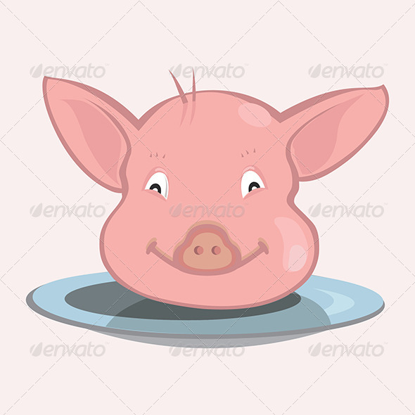 Pig Face on Plate - Animals Characters