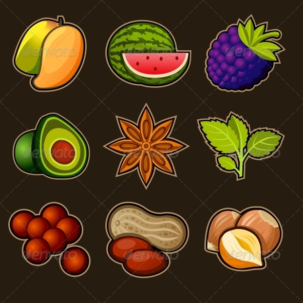 Set of Fruit Icons - Food Objects
