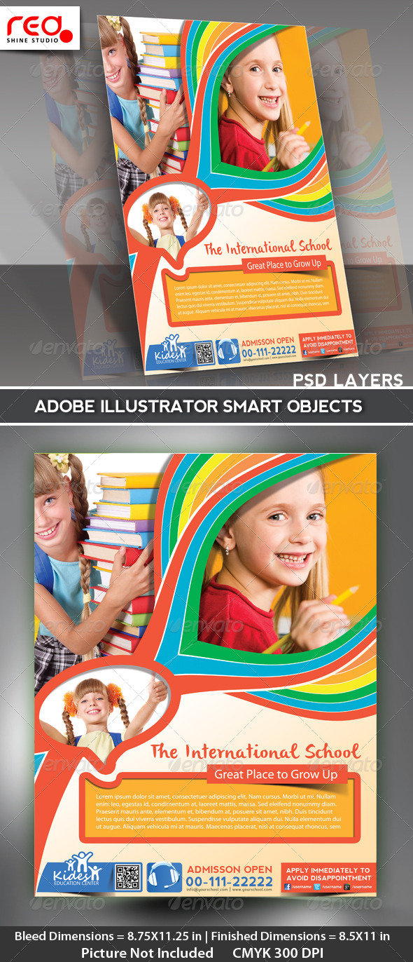 Kid's School Promotion Flyer Poster Template - Corporate Flyers