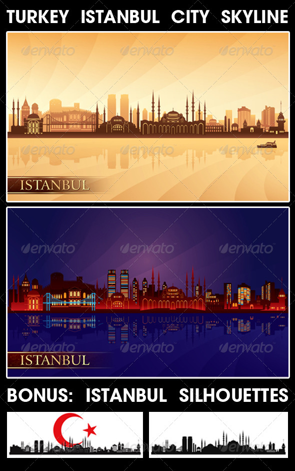 Istanbul Turkey City Skyline Silhouettes Set - Buildings Objects