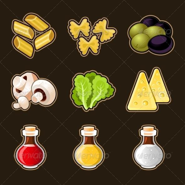 Italian Food Icon Set - Food Objects
