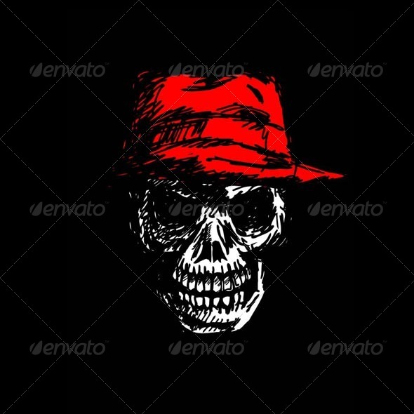 Grunge Skull Head with Hat  - Miscellaneous Characters