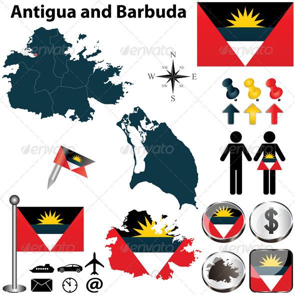 Map of Antigua and Barbuda - Travel Conceptual