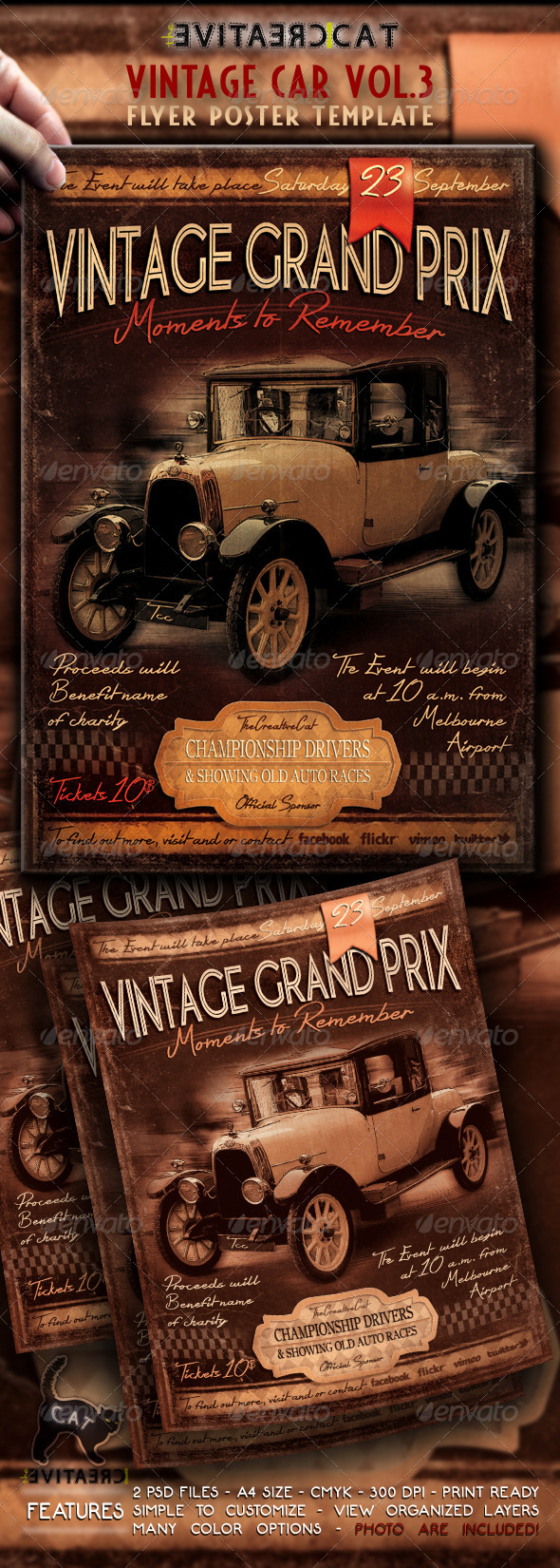 Vintage Car Flyer/Poster Vol.3 - Events Flyers