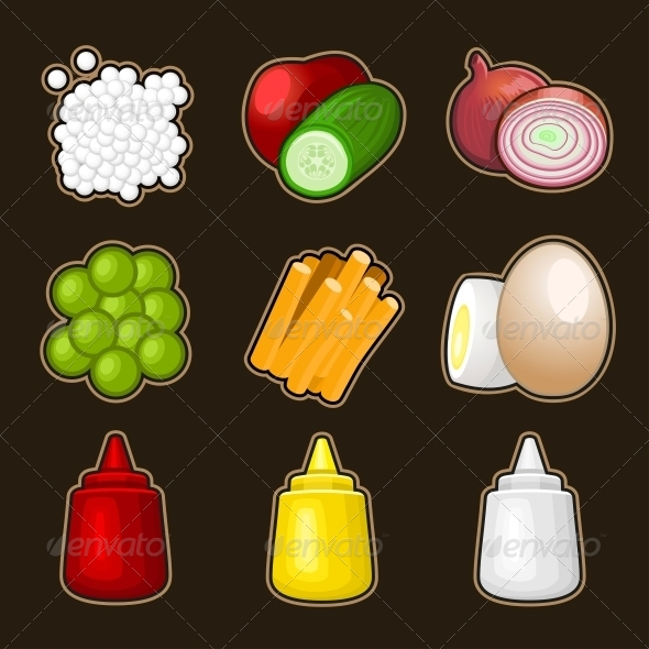 Food Products Icon Set - Food Objects