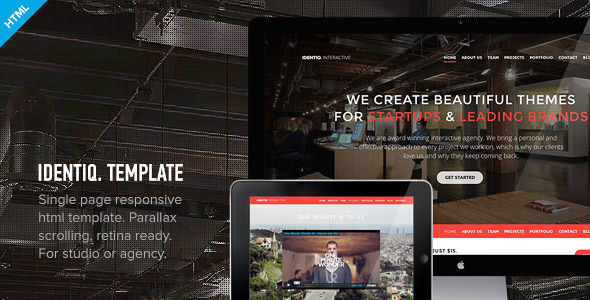 Identiq - One Page Parallax Retina Ready Template - Creative Site Templates