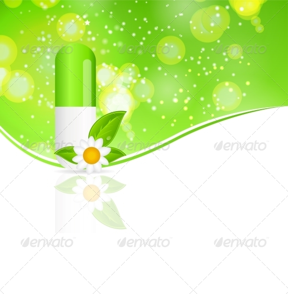 Herbal Pill Icon Environment Background - Health/Medicine Conceptual
