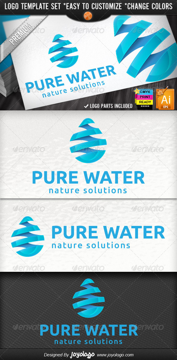 3D Drop Swirl Warp Pure Water Logo Template - Nature Logo Templates