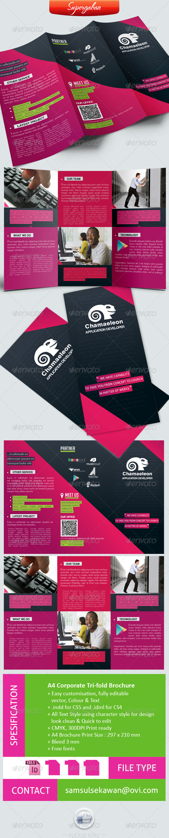 A4 Trifold Corporate Brochure - Brochures Print Templates