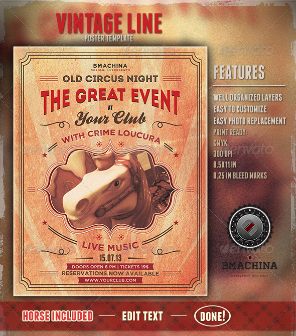 Old Circus Style - Poster Template - Clubs & Parties Events
