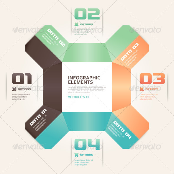 Modern Origami Style Number Options Infographic - Backgrounds Business