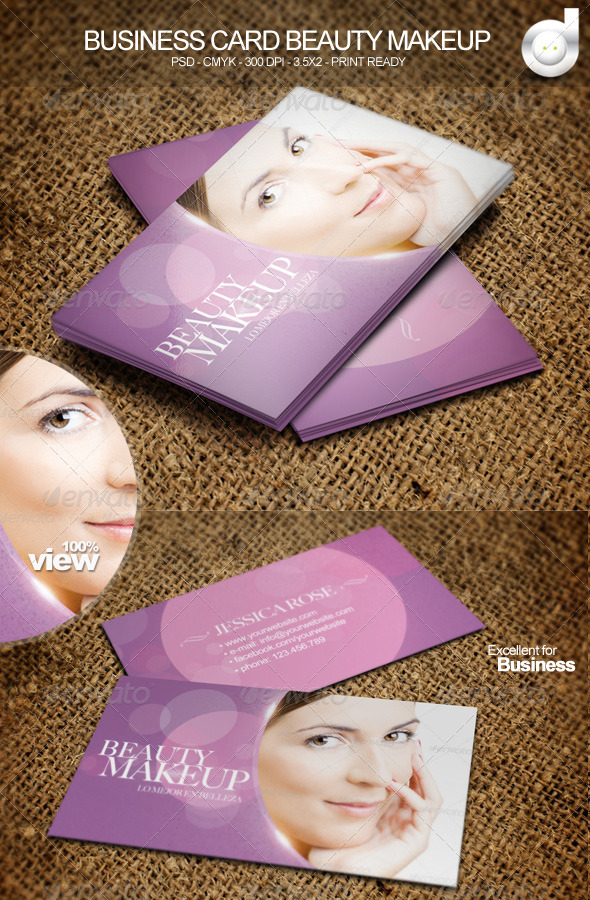 Business Card Beauty - Makeup - Business Cards Print Templates