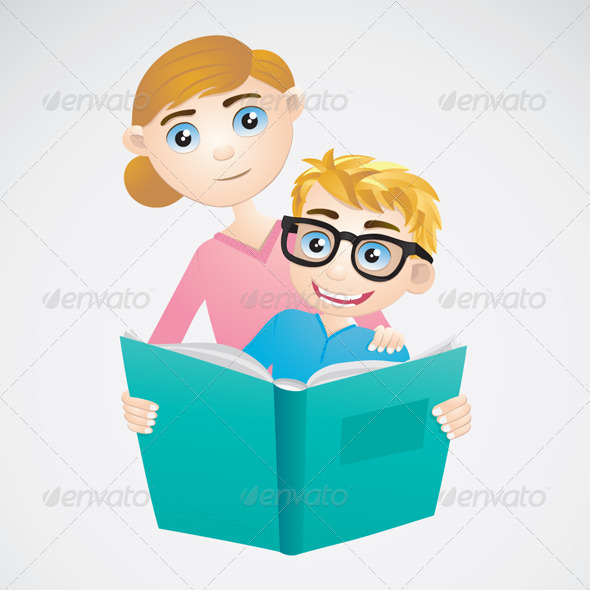 Boy and Mom Reading a Book - People Characters