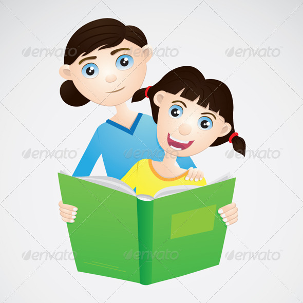 Girl and Mom Reading a Book - People Characters