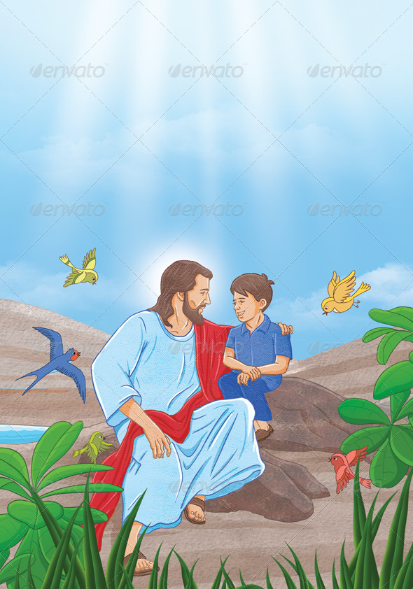 Jesus And Boy - Characters Illustrations
