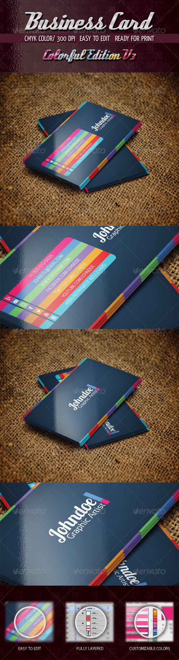 Colorful Edition V3 - Business Cards Print Templates