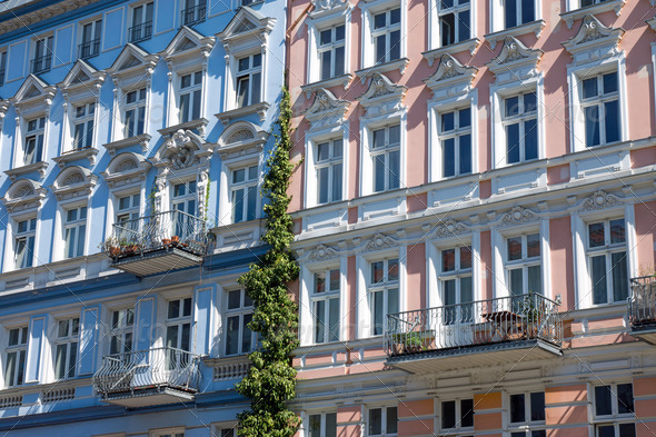 Facade of some restored houses - Stock Photo - Images