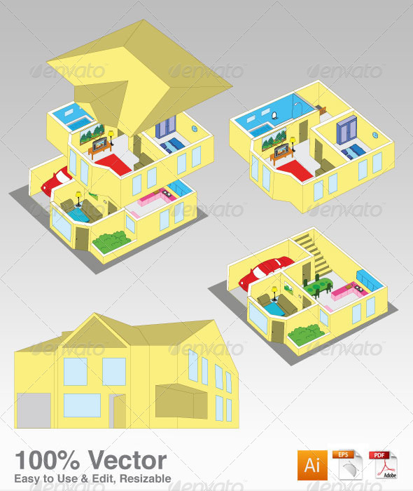 House Illustration - Buildings Objects