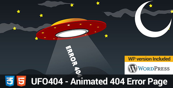 UFO 404 - Animated 404 Page - 404 Pages Specialty Pages