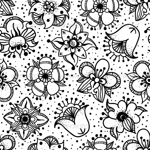 Floral Seamless Pattern with Hand Drawn Flowers - Patterns Decorative